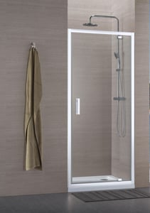 Paroi de douche CONCERTO porte pivotante ouverture gain de place 70 cm profilé blanc verre transparent