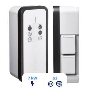 Borne de recharge Hager Witty Start à clé 7kW double prise T2/TE (XEV1K07T2TETPFR) + protections électriques