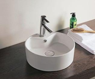 Vasque à poser Design ronde D 38,5 cm avec plage de robinetterie et trou de trop plein