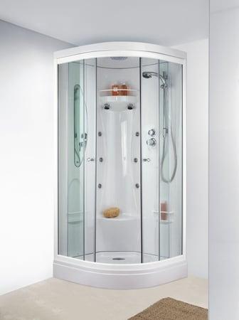 Cabine Odyssée 2013 quart de rond 90 hydro portes coulissante verre transparent