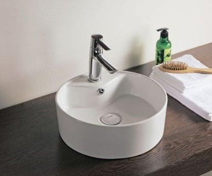 Vasque à poser Design ronde D 38,5 cm avec plage de robinetterie et trou de trop plein ALTERNA