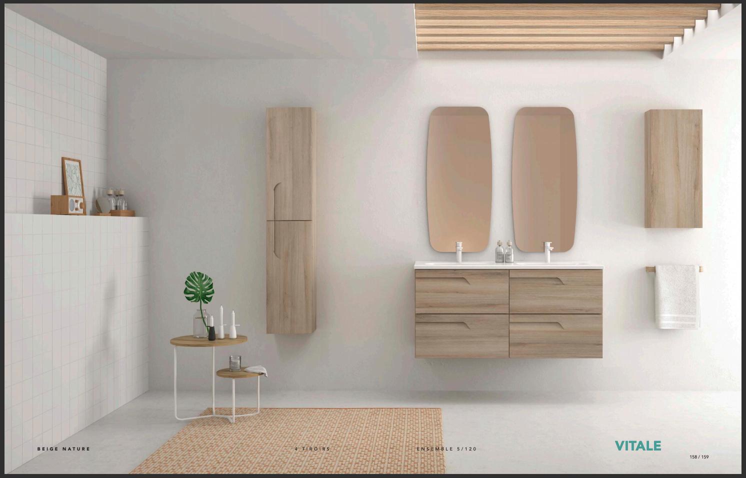 Ensemble meuble double vasque 4 tiroirs modèle Vitale 120 coloris beige nature
