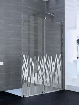 Paroi de douche coulissante PUREDAY verre décor chrome profilé chromé 140 droite