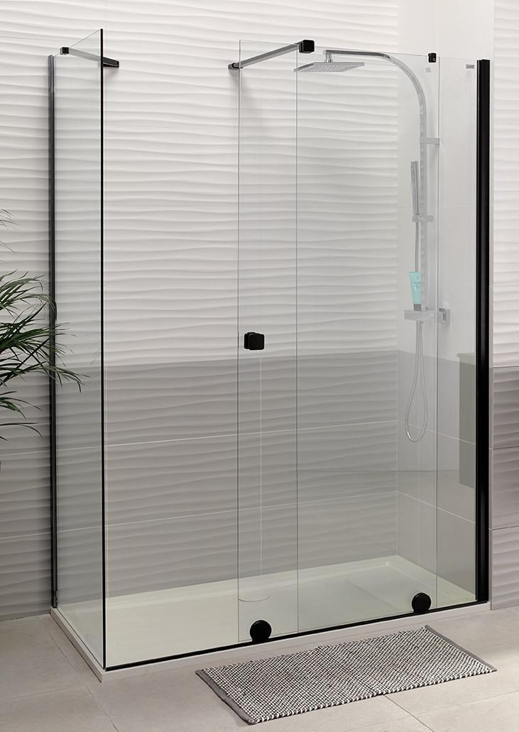 Paroi de douche coulissante PUREDAY verre TIMELESS profilé noir 120 cm droite