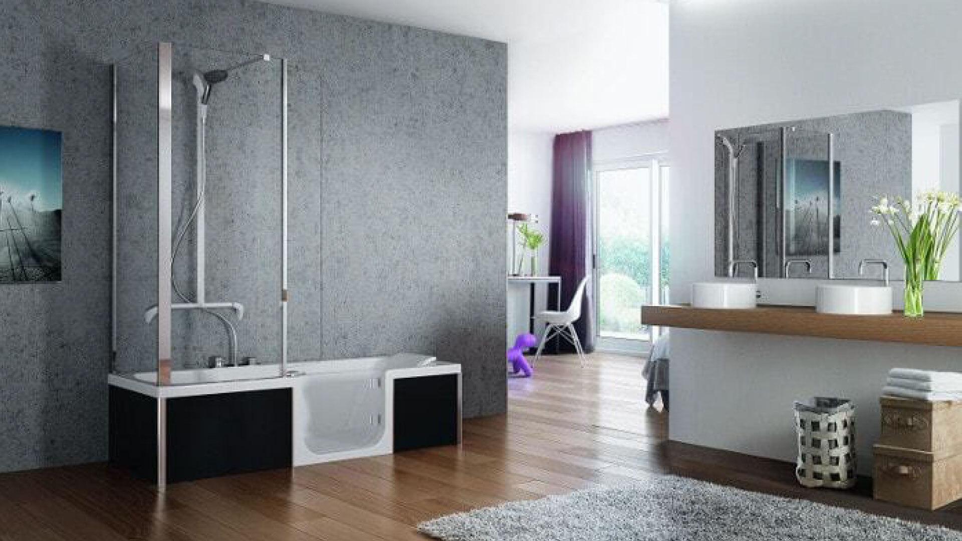 Installation d'une baignoire à porte