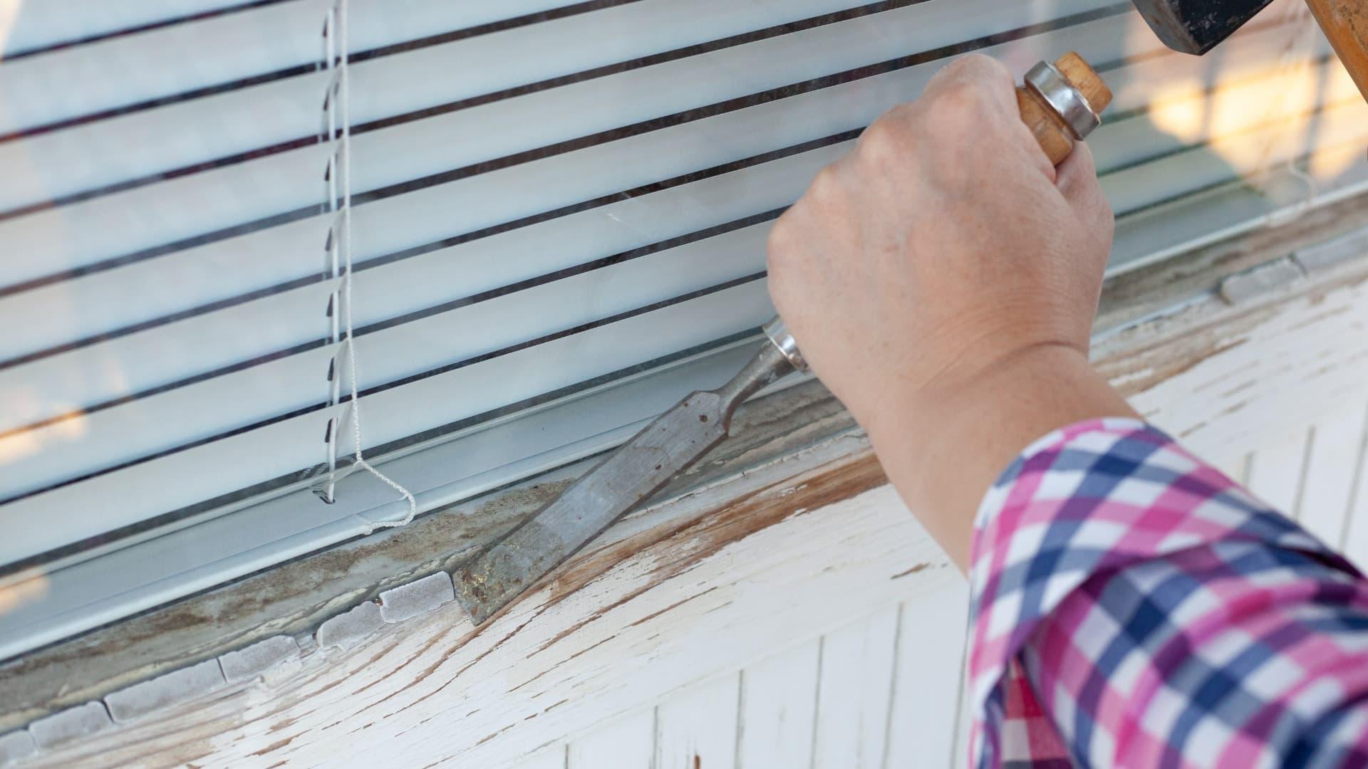 Rénovation de joint ou de mastic d'un vitrage